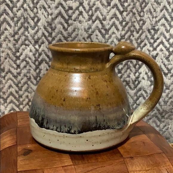Artisan ceramic thumbprint coffee mug
